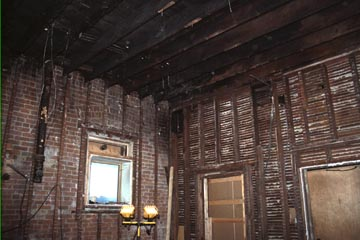 Fire damage to the main floor area