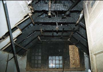 Fire damage to the upper level